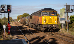 Colas class 56 no 56090 leads 56094 approaching Worksop Station on 18-10-2018 with the Stapleford to Toton RHTT via The World. (kevaruka) Tags: worksop station nottinghamshire sherwood forest october 18102018 autumn sun sunshine sunny day colour colours color colors class 20 56 66 choppers grid shed trains train rhtt freight network rail british yellow blue green composition locomotive heritage historic market town england canon eos 5d mk3 70200 f28 is mk2 5d3 5diii flickr thephotographyblog telephoto railway railfreight 20205 20007 railroad tree sky 56090