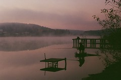 Fisherman (multifaceted_m) Tags: zenite helios442 film filmcamera filmphotography fisherman dawn lake morning sunrise fog