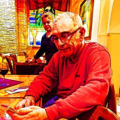 good message (j.p.yef) Tags: peterfey jpyef yef people man woman inside tables room reading smartphone portrait redyellow square iphone photomanipulation digitalart smiling bestportraitsaoi