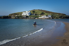 burgh island 2 (kapper22) Tags: burgh island kingsbridge tractor people hotel outdoor blue white red surf cove sunny