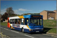 34816, Hollowell Way (Jason 87030) Tags: tree grass house estate dart dennis slf pointer stagecoach midlands bus blue white red orange px06dvz admirals brownsover way 34816 warwickshire sunny warks light transit route service 4