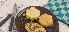Fried plaice, apple sauce and potato puree (annick vanderschelden) Tags: dish plate plated served readytoeat menu food cooking cooked pressurecooked pressurecooking fried pepper slt parsley garnish foodrings kitchentowel fish applesauce pplecompote potato mashed culinary