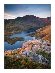 The Horns of Snowdon (Dave Fieldhouse Photography) Tags: snowdon snowdonia hornsofsnowdon pigtrack wales gwynedd llynllydaw sunrise mountains lake portrait light rocks foreground nationalpark sky clouds path fuji fujixt2 fujifilm shadows landscape outdoors countryside