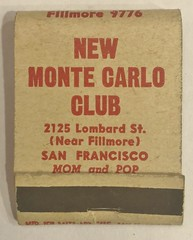 NEW MONTE CARLO CLUB SAN FRANCISCO CALIF (ussiwojima) Tags: newmontecarloclub club bar cocktail lounge girlie sanfrancisco advertising matchbook matchcover