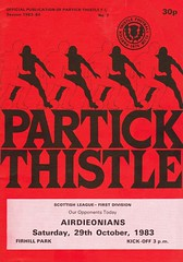 Partick Thistle vs Airdrie - 1983 - Cover Page (The Sky Strikers) Tags: partick thistle airdrie airdrieonians scottish league first division firhill park official publication 30p