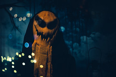 Walk with me.. (3rd-Rate Photography) Tags: pumpkin halloween decorations monster creature figure dark reflection storefront daytona florida canon 50mm 5dmarkiii 3rdratephotography earlware 365
