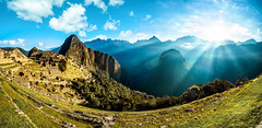 Sunrise at Machu Picchu - Peru (BüniD) Tags: machu picchu peru panorama sony a7iii 1635mm sunrise fog clouds light rays mountains llama alpaca inca site landscape travel world