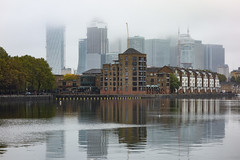 Greenland Quay, Rotherhithe (London Less Travelled) Tags: uk unitedkingdom britain england london urban city suburban suburbia southlondon rotherhithe southwark water quay dock greenland building mist