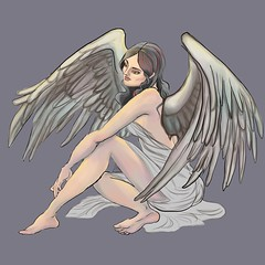 grey angel (Marzena.P) Tags: digitalpainting illustration illustrationart fantasy angel creature wings women girl art painting imagination