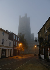 Early Morning By The Cathedral (David S Wilson) Tags: davidswilson ely england lightroom panasonicdmcfz1000 2018 explore cathedral church autumn fall misty tower lowlight minstertavern