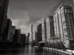 Postcard (ancientlives) Tags: chicago chicagoriver illinois il usa travel trips boats river riverwalk rivercruise rivereast towers architecture buildings skyline skyscrapers sky cityscape city bluesky walking sepia monochrome mono wednesday october 2018 autumn