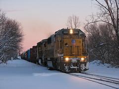 Twilight Goodies (GLC 392) Tags: up union pacific emd sd60 9553 2231 ge c418w dash 8w 8 durand mi michigan twilight snow dusk blue hour railroad railway train local winter scene life pure good days