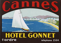 20th century luggage label for Hotel Gonnet along the French Riviera Cannes, France (thstrand) Tags: visualarts commercialart costadazur còstadazur cotedazur côtedazur hotel gonnet french riviera cannes france luggage label labels primary colors colorful bright 1920s 1930s 1940s history historic artifact luxury hotels vacation vacations travel destination adventure advertising business europe european advert advertisement ad art artwork visual arts painting sail sailboat sailing mediterranean sea ocean beach city red yellow blue brown letters lettering