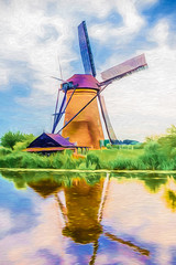 Where the Wind Blows (SammCox) Tags: kinderdijk netherlands painterly reflection topazimpression topazsimplify windmill zuidholland