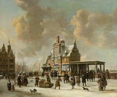 Jan Beerstraten – Rijksmuseum SK-A-20. The Paalhuis and the Nieuwe Brug, Amsterdam, in the Winter (1640-1666) (lack of imagination) Tags: 55006000 animals blog boats buildings cityscape janbeerstraten people rijksmuseum winter