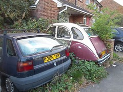 1992 Citreon ZX (doojohn701) Tags: blue abandoned french classic car vintage retro vegetation weeds houses citreon zx 1992 uk