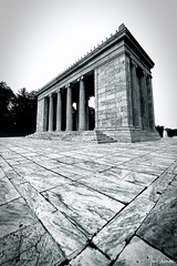Temple to Music (iecharleton) Tags: templetomusic rogerwilliamspark providence rhodeisland ri structure temple greek pillar achitecture tile marble line wideangle mono monochrome blackandwhite monument