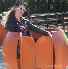 Flying Pumpkin (jenelle.melchior) Tags: ride flying pumpkin girl disney mickey ears halloween person orange wind hair fall farm remlinger
