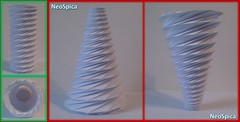 Conical Cylinder Origami Collapsible In Spiral Based On Dodecagon (4/5) (NeoSpica / NeoLiveArt) Tags: conical cylinder tube origami collapsible spiral dodecagon fold folded folding structure design corrugation tessellation paper papercraft ideas lamp lampshade helix swirl decor decoration decorative handmade variation pleating developed
