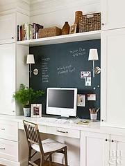 Built-In Desk w/ Chalkboard Wall (Heath & the B.L.T. boys) Tags: desk office chalkboard basket wallsconce