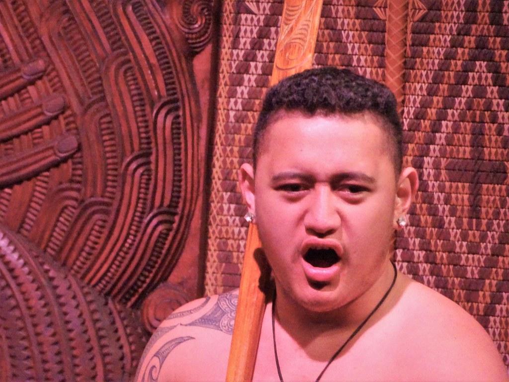 Waitangi. Young Maori warrior with club dancing at the Waitangi Treaty grounds.