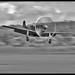 "Mustang P51-D (Explored) (Spaaarky) Tags: pilot ""blurredtreesandfoliage"" ""sharkmouth"" ""skyandclouds"" runway aircraft ""mustangp51d"" propeller flyinglegends imperialwarmuseum raf100 duxfordcambridgeshire kevinwooby spaaarky nikond500 nikon300mmf4pf fighterplanes slowshutterspeed blurredbackground movement monochrome blackwhite niksilverefex mustangfighter landinggeardown"