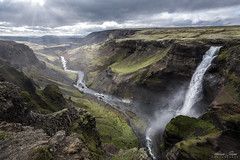 Háifoss (Adrians Photos) Tags: green háifoss iceland icelandic travel landscape valley gorge canyon waterfall river nature sunlight sunrays cloudy storm