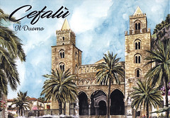 postcard - Cefalu Cathedral 1 (Jassy-50) Tags: postcard cefalú cefalu sicily italy cefalucathedralcefalú cathedralcathedralchurchartartworkunesco world heritage siteunesco heritageunescoworld siteworld whs palm