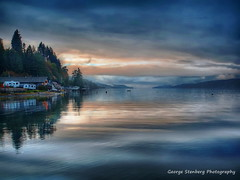 Turning (George Stenberg Photography) Tags: washingtonstate pacificnorthwest hoodcanal hoodsport sunset twilight calmwater blue reflections clouds
