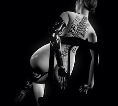 this way up (khaosrepublic) Tags: robot erotic spine arm chair tattoo android backside naked metal
