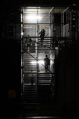 Pedestrian Access -> (O'Quinn Photo) Tags: etobicoke toronto islingtonave bloor night stairway construction pedestrian access oquinn ontario shadows silhouettes