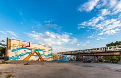 Greetings from Chicago (Darren LoPrinzi) Tags: 5d canon5d chicago il canon chitown illinois miii greetingsfromchicago mural greetingsfromchicagomural city urban art artwork train el theel thel transportation parkinglot wallmural bluesky clouds cloudscape urbanart icon iconic landmark chicagolandmark chicagolandmarks