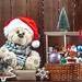 Christmas toys and decorations for the Christmas tree on a wooden background. The concept of traveling to childhood