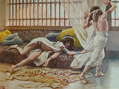 065/402 Joseph is tempted by Potiphar's wife (Genesis 39:7) chromolithograph of a gouache painting by James Tissot in the Jewish Museum New York presented by Phillip Medhurst (Phillip Medhurst) Tags: tissot jamestissot jacquesjosephtissot brunoff mauricedebrunoff jewishmuseumnewyork josephsonofjacob potipharswife bookofgenesis lust adultery scorned