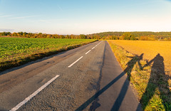 Together on road (JeanAhmes) Tags: road love country landscape sunset champ paysage