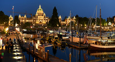 Victoria Harbour (Anthony Mark Images) Tags: nightshot evening victoriaharbour boats water sailboats peoplewalking docks bcparliamentbuildings canadaflag reflections night lights victoria bc britishcolumbia canada nikon d850 sundaylights flickrclickx