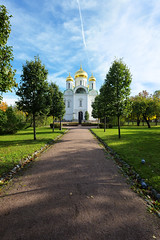 Catherine Cathedral. (fedoseenko) Tags: санктпетербург россия красота colour природа beauty blissful loveliness beautiful saintpetersburg sunny art shine dazzling light russia day green park peace garden blue white голубой небо лазурный color sky pretty sun пейзаж landscape clouds view heaven mood summer serene golden gold gate colours picture hall road tree grass nature alley history trees tsar stairway walkway field autumn outdoors old d800 wood cathedral church cupola holy orthodox path religion building foliage 1735mmf28d
