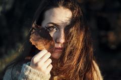 Burnt caramel (Enrico Cavallarin) Tags: portrait portraiture girlportrait girl autumn fall leaves orange season october sweather eyes amber retrato ritratto hair golden goldenhour nature