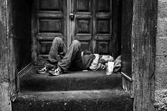 The Sleeping Beauty. (SebRiv) Tags: alcohol alcool alcoolisme alcoolism loneliness sad sdf sansabris hangover harddaysnight sleeping vieuxmontréal montreal homeless drunk