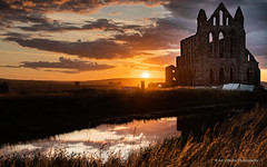 Whitby Abbey Sunset (Art d'Pedro) Tags: whitby sun sunset abbey reflections sky pond