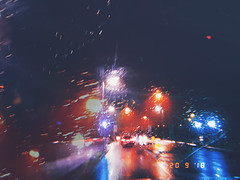 it never rains but it pours... (CatMacBride) Tags: rain night drive travel lights hujicamapp m50