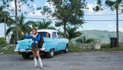 Getting Directions from a Schoolgirl - Vinales, Cuba (ChrisGoldNY) Tags: chrisgoldphoto chrisgoldny chrisgoldberg cuba cuban caribbean latinamerica licensing forsale cubano bookcover albumcover travel viajes sonyalpha sonya7rii sonyimages kneesocks schooluniform schoolgirl uniform vinales girl girls blue classiccars cars 1950s pinardelrio