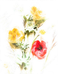 2858 Floral Artistry (foxxyg2) Tags: flora floral flowers tabletop topaz art topazstudio topazsoftware red yellow