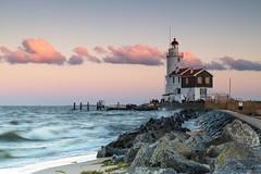 The famous lighthouse of Marken (2)! (Jambo53 (very busy)) Tags: filters06en09softgrad sunset zonsondergang paardvanmarken lighthouse vuurtoren netherlands ijsselmeer ijssellake