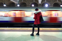 waiting in a red coat - Glocester Road (Luke Agbaimoni (last rounds)) Tags: london londonunderground londontube train transportforlondon trains