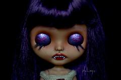 Layla (Art_emis) Tags: layla custom blythe doll ooak handmade vampire girl tan purple hair bangs fangs carved teeth poseable flection body artemis art work photography