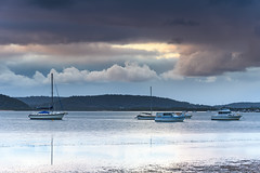 Overcast Clouds and Boats on the Bay (Merrillie) Tags: daybreak sunrise nature australia drizzly tascott overcast boats nsw newsouthwales wet koolewong morning brisbanewater dawn cloudy water landscape earlymorning coastal clouds sky waterscape bay centralcoast outdoors foreshore
