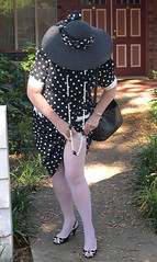 Me black polka dots flash (Sugarbarre2) Tags: woman wife white hot cool heels hat sunny shadow photo mature mom granny fashion old vintage