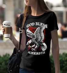 Good Bless America. Eagle on Flag. Women's: Gildan Ladies' 100% Cotton T-Shirt. Black.  | Loyal Nine Apparel (LoyalNineApparel) Tags: 2a america dtom girlsandguns girlsthatshoot godblessamerica gunchick instafashion libertarians loyalnineapparel loyalnineclothes ootd patriot patriotic pewpew shootingrange stylish teaparty teapartyrepublican tee teeshirt threeper threepercent threepercenter tshirt usa womensfashion womensshirt womenstee womenwhoshoot