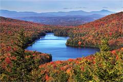 Owls Head @ Peak (Sandra OTR) Tags: usa vermont fall foliage peak red trees maple mountains lake owls head kettle pond